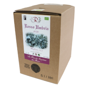 Rosso Umbria 2020 da uve di Montepulciano d'Abruzzo 50% e Sangiovese 50% Rosso Umbria IGT Bag in box 5 litri